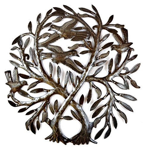 "Crossing Double Tree of Life, Haitian Steel Drum Art, Metal Wall Art, 23"" X 23"""
