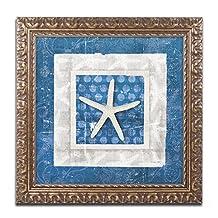 Trademark Fine Art Sea Shell IV on Blue Artwork by Belinda Aldrich, 16 by 16-Inch, Gold Ornate Frame