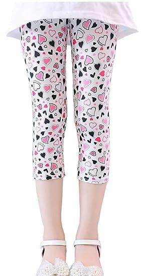 a6a754d9e5e83 BOWKITE Girls Kids Flower Printed Capris Leggings Toddler Cropped Tight  Pants Black&White Heart(US S