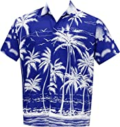 Men's Regular Fit Camp Hawaiian Short Sleeves Button Down Hawaiian Shirt Blue