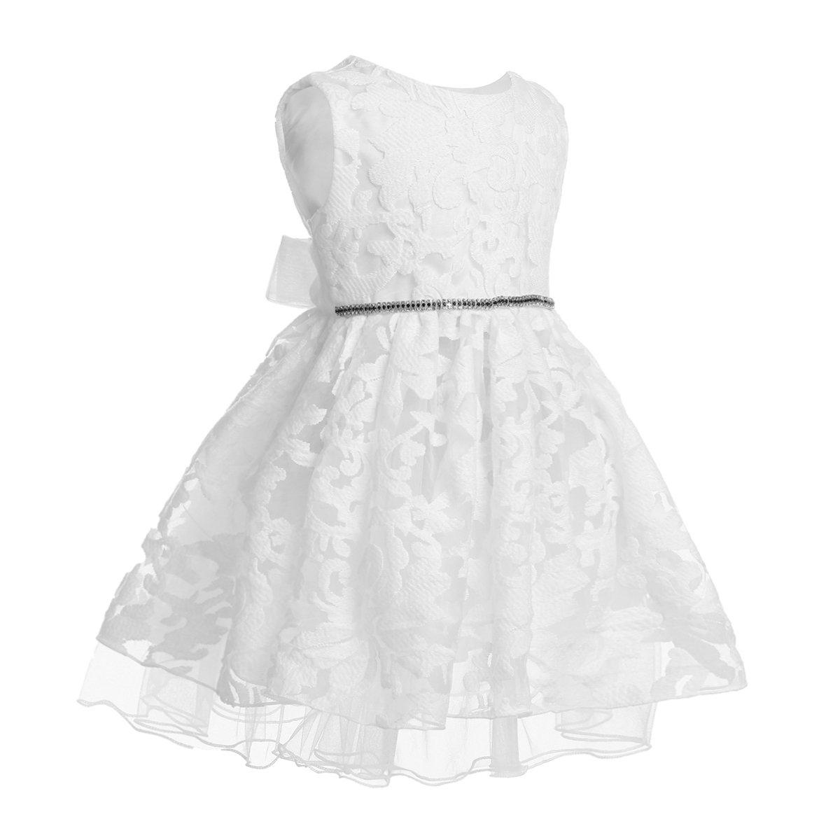 Tiaobug Babykleidung-Baby Mädchen Kleid Festlich Weiß Sommer Kleider Hochzeit Geburtstag Kleinkind Kleidung Tüll Festzug
