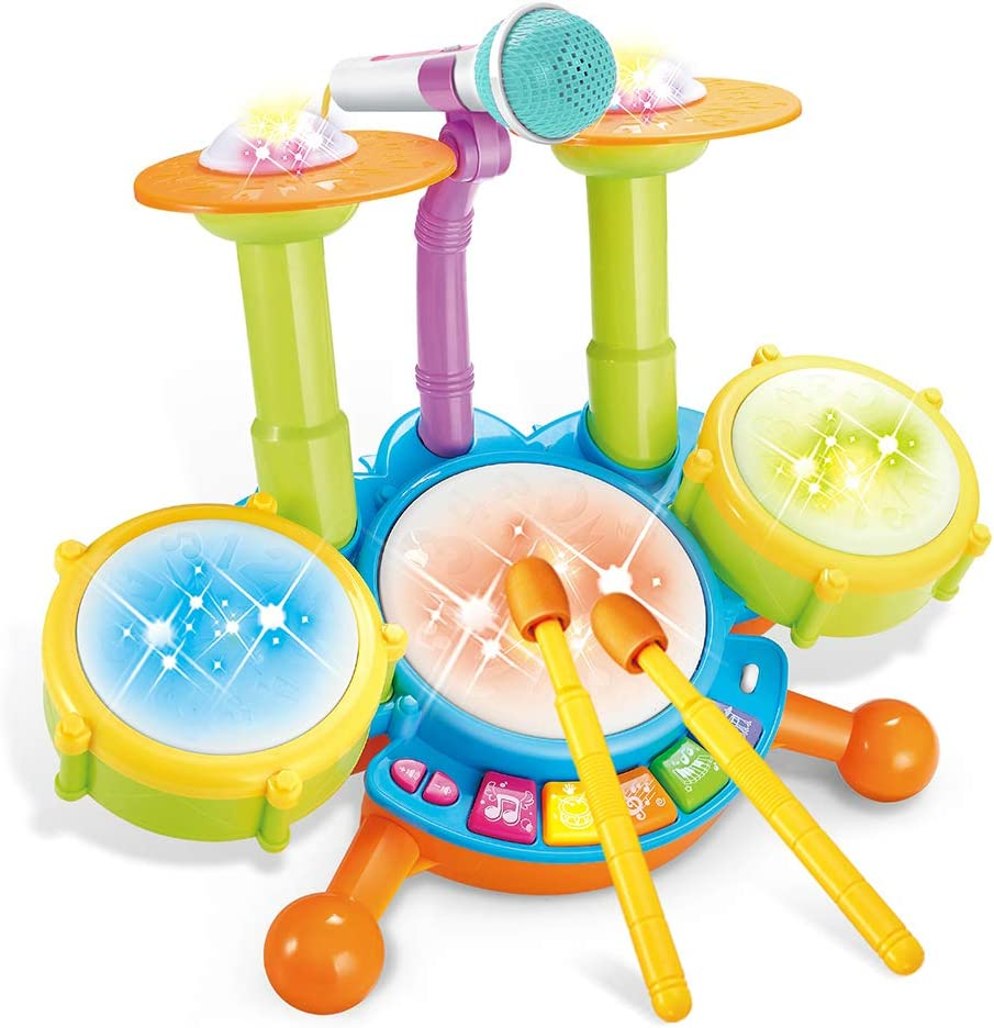 Cozybuy Kids Drum Set, Electronic Musical Instruments Toddlers Toys with 2 Drum Sticks, Beats Flash Light and Adjustable Microphone, Birthday Gift for 1-12 Years Old Boys and Girls: Toys & Games