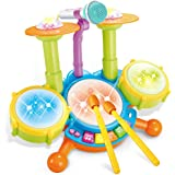 Cozybuy Kids Drum Set, Electronic Musical Instruments Toddlers Toys with 2 Drum Sticks, Beats Flash Light and Adjustable Micr