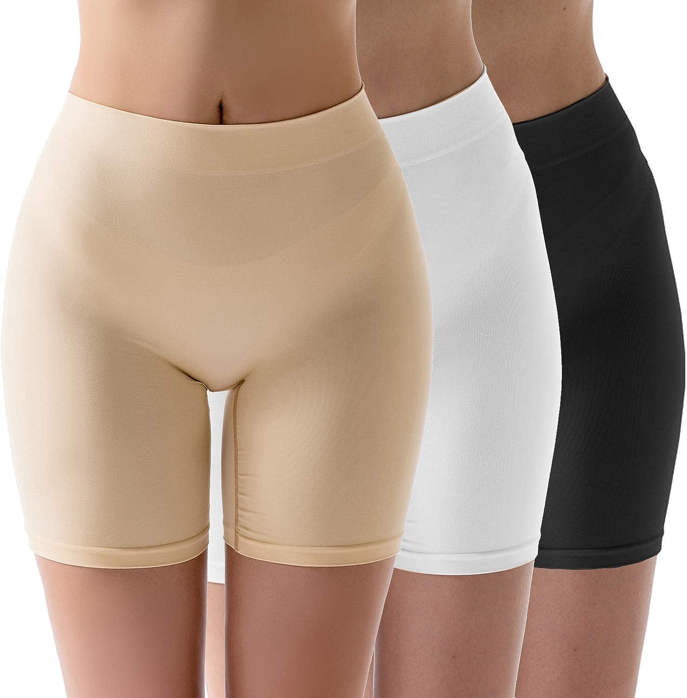 MELERIO Women's Seamless Boyshort Panties High Waisted Smooth Slip Shorts for Under Dresses