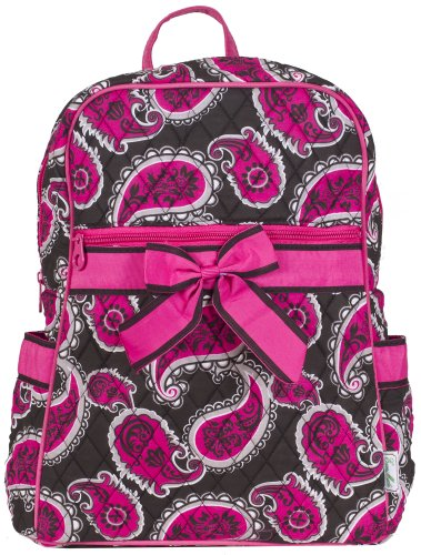 Ever Moda Quilted Pink Paisley Backpack