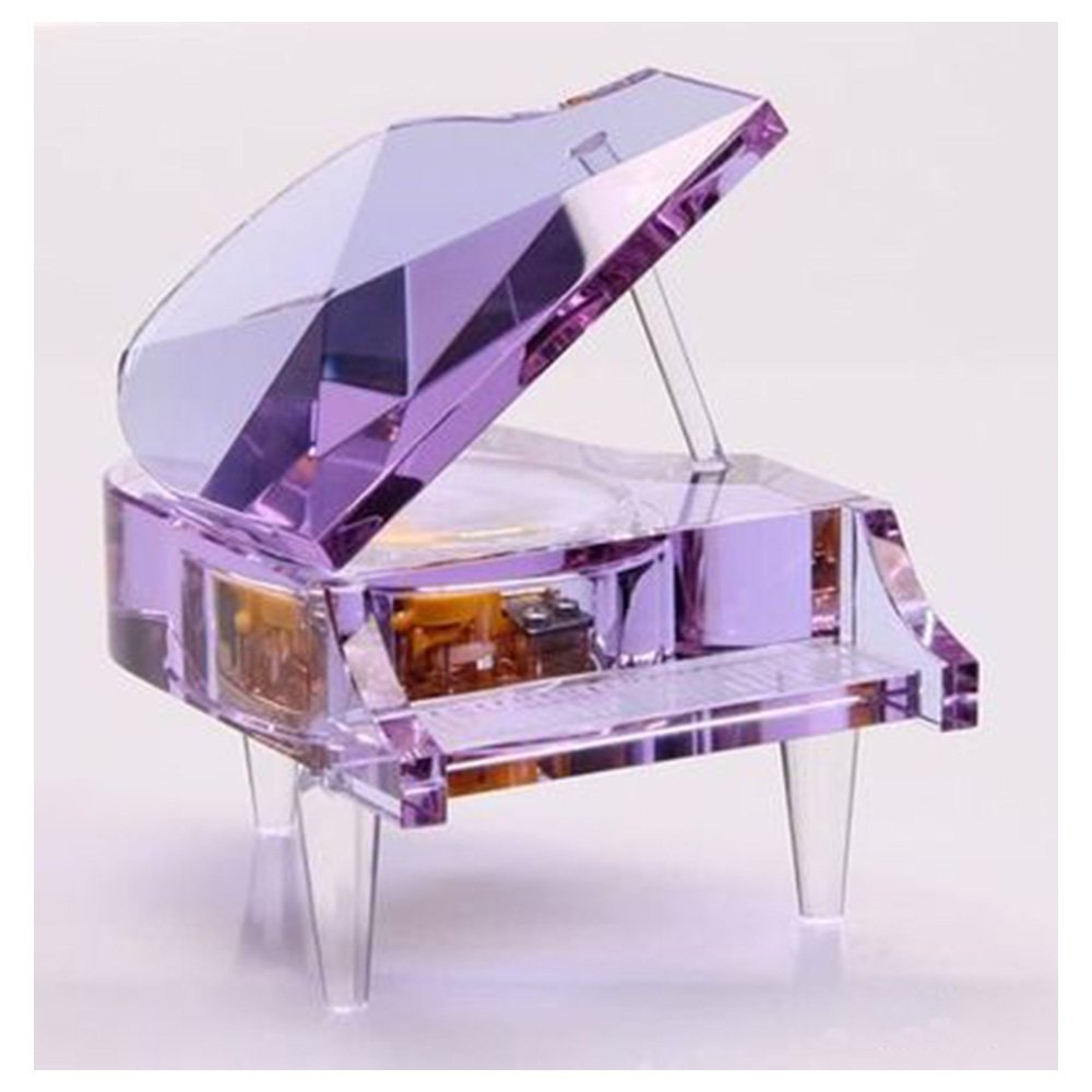 Luxury Crystal Piano Music Box in Purple, Play Tune for City of Sky