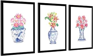 Watercolor Chinoiserie Vases with Flowers Posters Print Blue And White China Porcelain Art Canvas Painting Picture Wall Decor Unframe-style1 12×18inch(30×45cm)