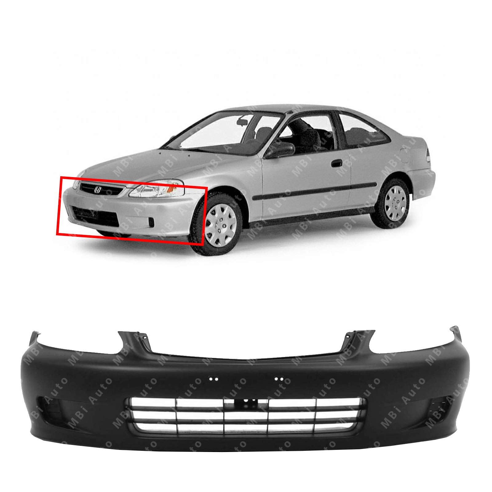 MBI AUTO - Primered, Front Bumper Cover Fascia for 1999 2000 Honda Civic Sedan, Coupe, Hatchback 99-00, HO1000184
