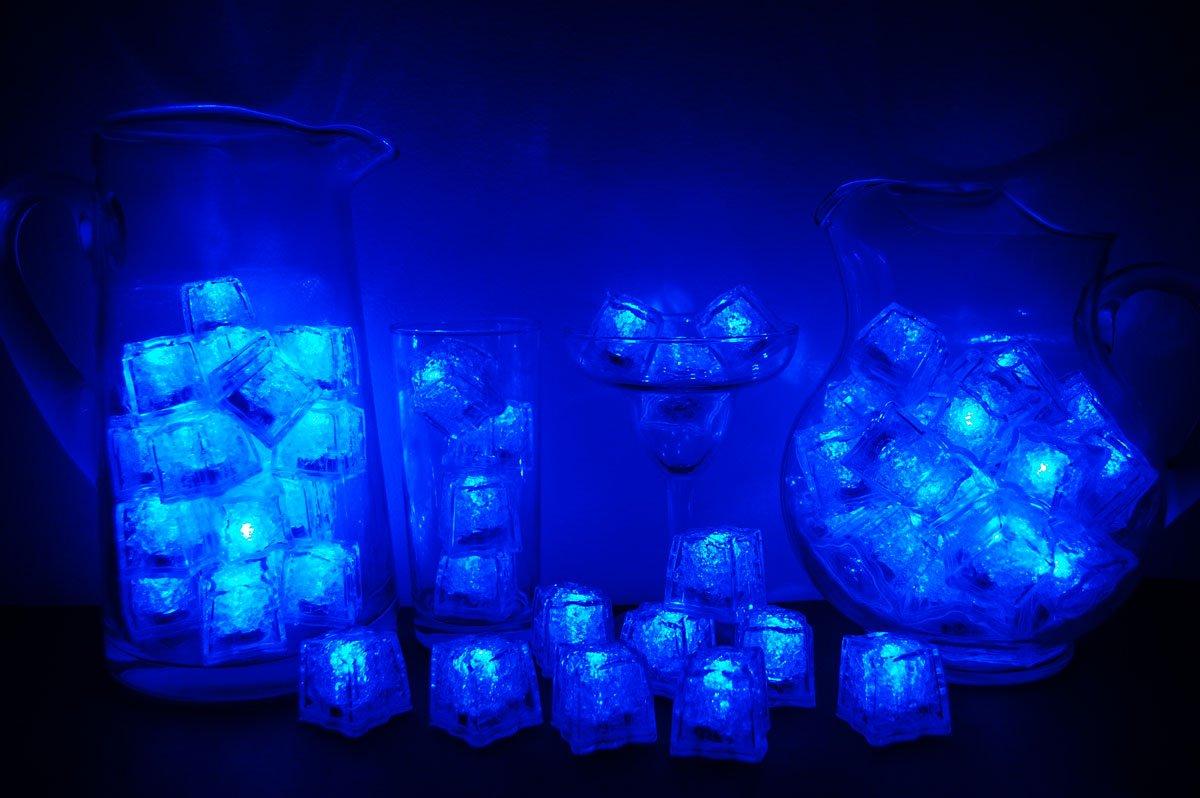 Set of 72 Litecubes Brand 3 Mode Blue Light up LED Ice Cubes by LiteCubes
