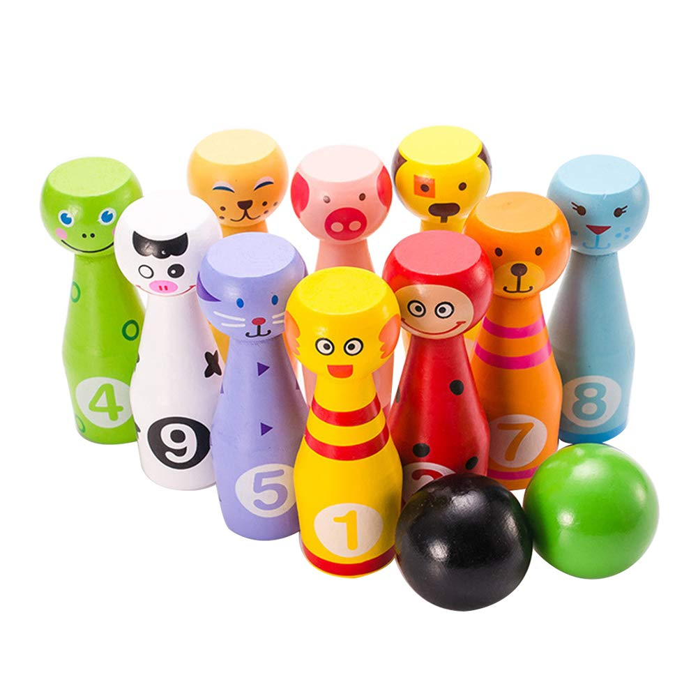 Exttlliy Wooden Mini Animal Kids Bowling Set Cute Children Educational Ball Play Kit for Toddlers Kids (Small) by Exttlliy