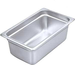 """4"""" Deep Steam Table Pan 1/4 Size, Kitma 3 Quart Stainless Steel Anti-Jam Standard Weight Hotel GN Food Pans - NSF (10.43""""L x 6.37""""W) - 12 Pack"""