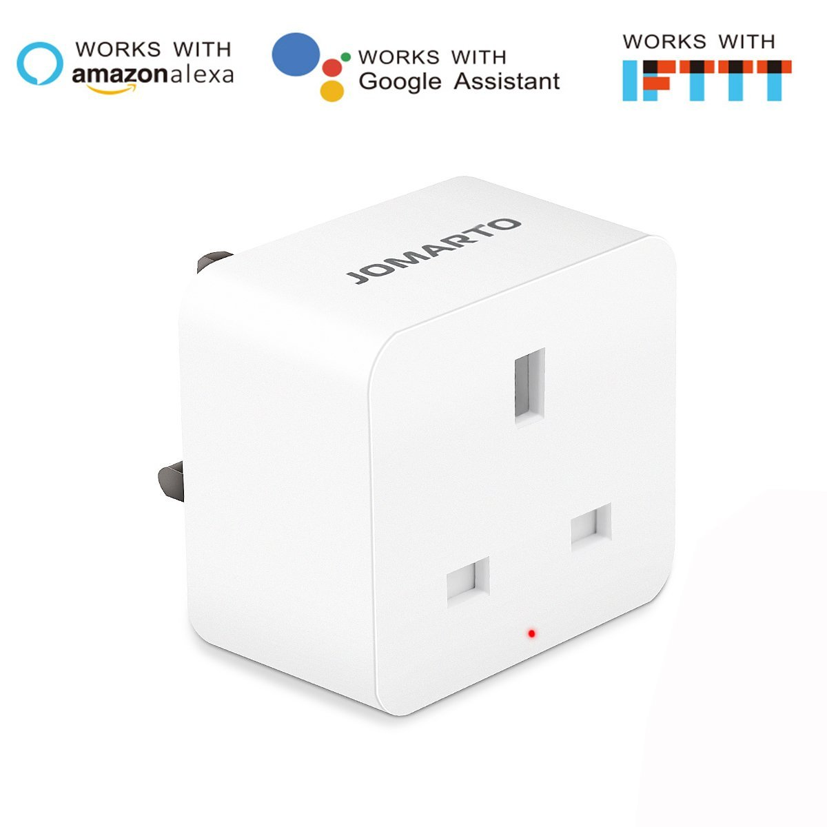 WiFi Smart Plug, JOMARTO Smart Socket Compatible with Alexa, Google Home and IFTTT, Mini Smart Plug Outlet Remote Controlled with Timer Function by iOS/Android Device, No Hub Required