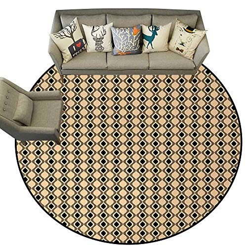 (Abstract,Bathroom Floor mats D40 Wavy Vertical Lines with Oval Shapes Pattern with Vintage Inspirations Round Carpet Beige Taupe Black)