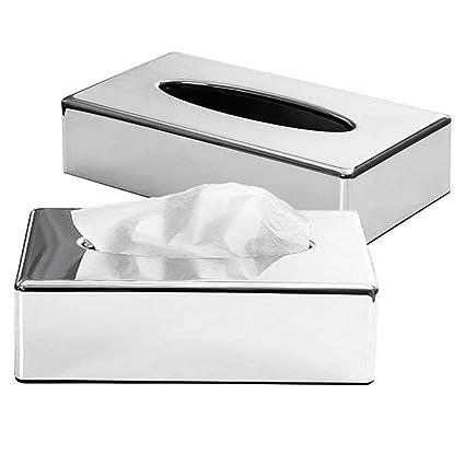 Pleasing Crownstarqi Tissue Box Cover Holder Kleenex Napkin Holder Bathroom Organizer Stand Silver 2Pcs Home Interior And Landscaping Ologienasavecom