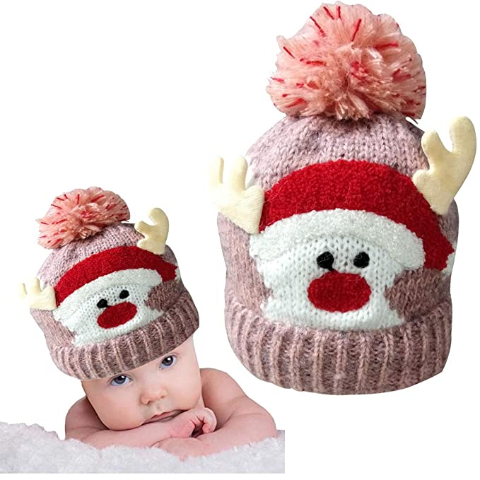 Christmas Holiday Baby Kids Knitted Warm Hat Toddler Santa Knit Cap Infant  Reindeer Beanie Cap ( 6248f2a9d9b8
