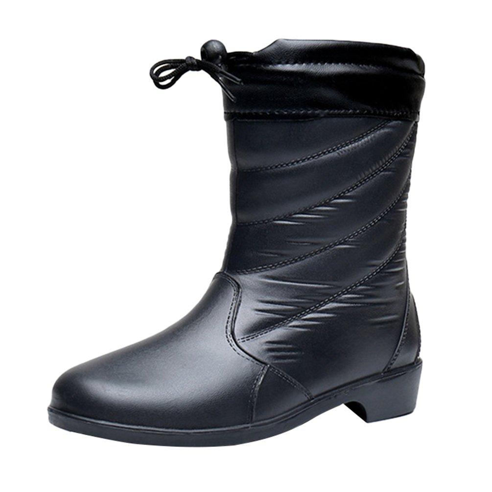 LvRao Donna Inverno Caldo Pelliccia Sintetico foderato Stivali di Neve Pioggia Coulisse Scarpe del Giardino al polpaccio Nero