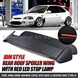 EpandaHouse For 96-00 Honda Civic 3DR Hatchback EG EH Black Rear Trunk Wing Spoiler Window TR Style With Red LED