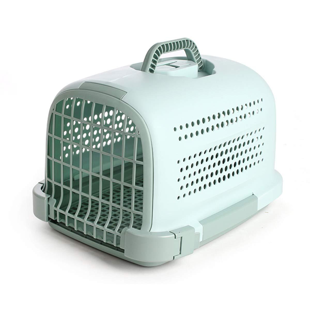 Green 483429cmHWX Premium Plastic Pet Carrier, Kitten Cat Dog Animal Portable Transport Travel Box Cage,brown,48  34  29cm