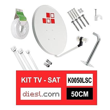 Diesl.com - Kit Parabólica 50cm + LNB + Soporte + 25 Metros de cable