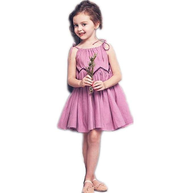 Amazon.com: Vestido de verano para niña, vestido de estilo ...