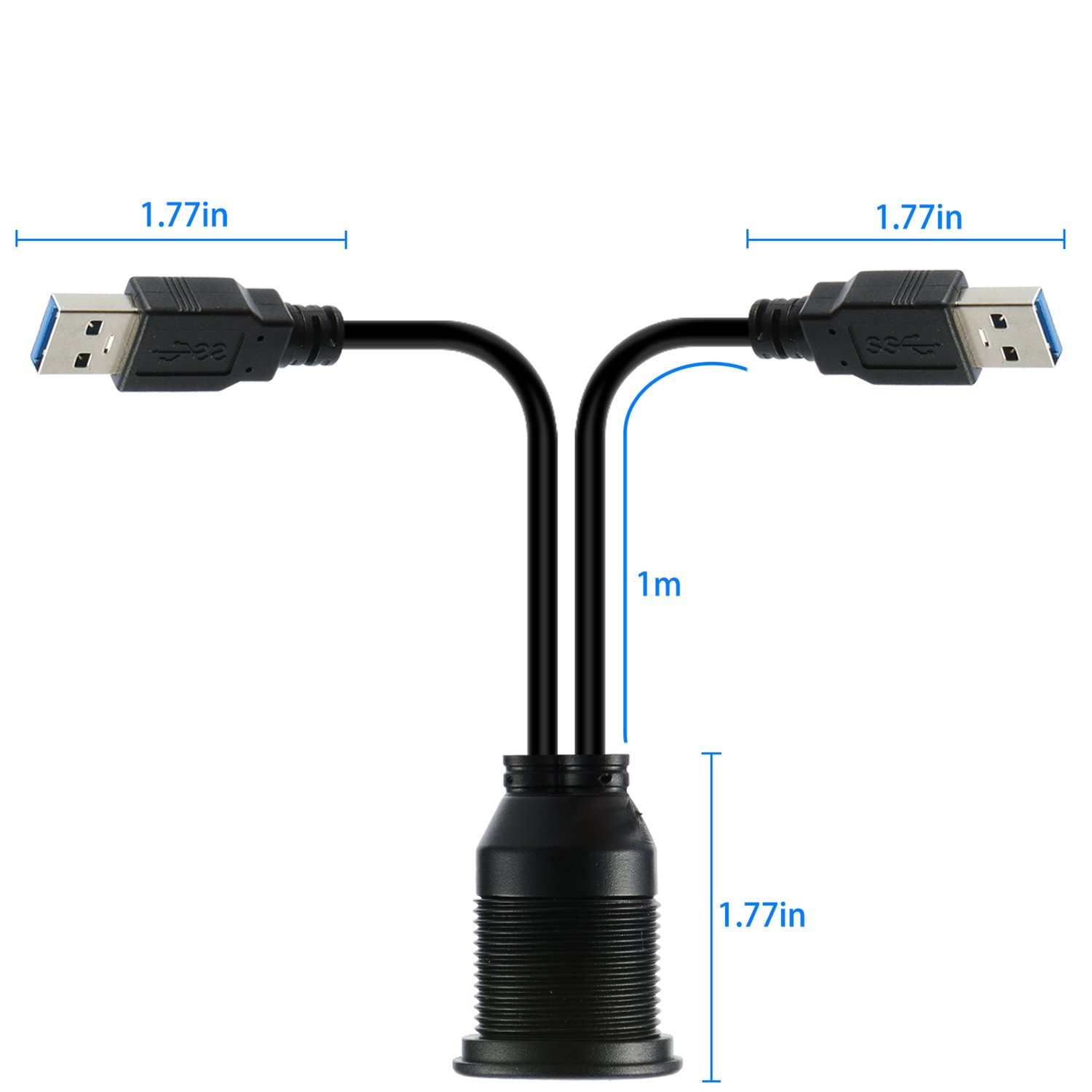 Panel Mount Cable for Car HDMI+2.0-2M USB Extension Flush USB Mount Cable Dash Boat Motorcycle and More
