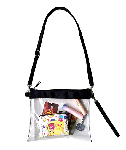 ce65476eb512 VIEEL Clear Tote Bag - New Adjustable Cross-Body Strap Bag, NFL Approved  Clear Vinyl Bag Gameday Crossbody Purse Bag with Zipper Closure for Work ...