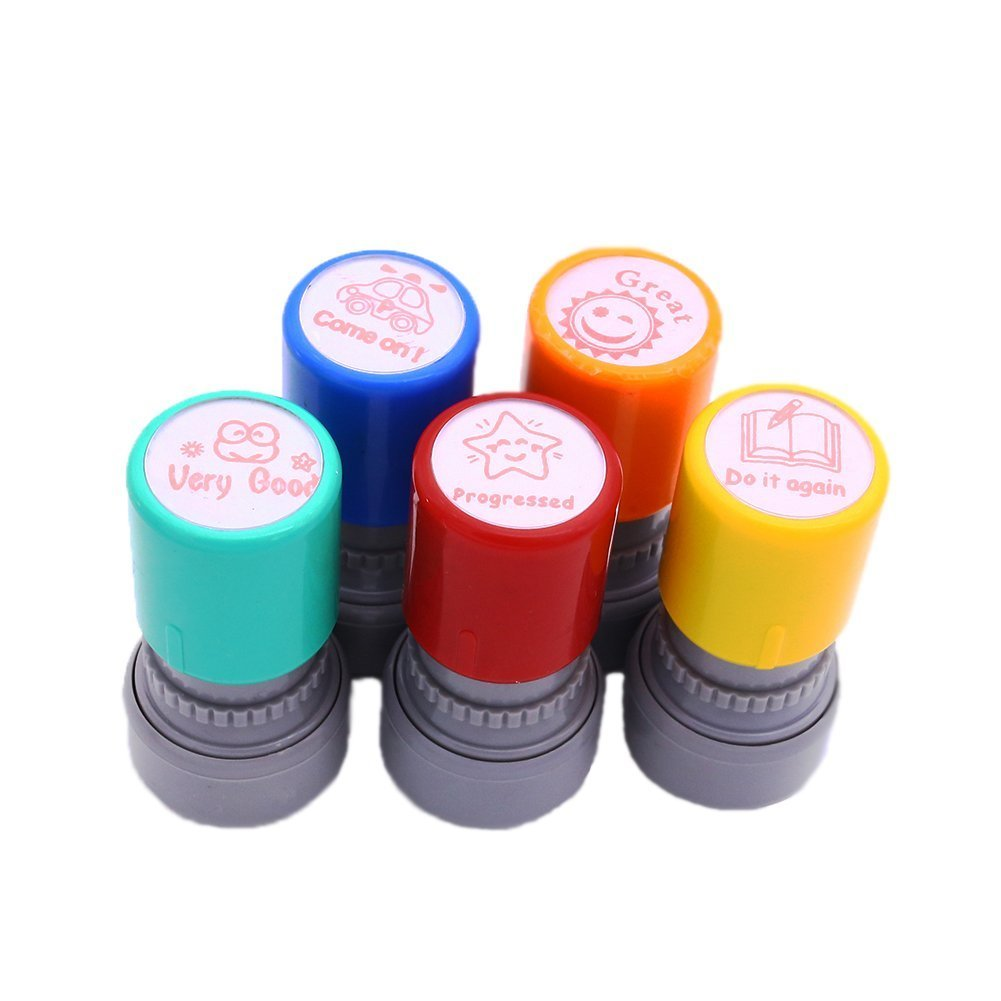 Stamps for School Teachers, Pack of 5 Self-Inking Teacher Stamps for Kids Education, Teachers Review, School Prizes