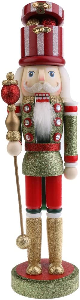 MagiDeal 38CM Casse-Noisette en Bois Figurine Soldat Peint /à La Main Objets de d/écoration Embellissement pour Maison Table Dor/é