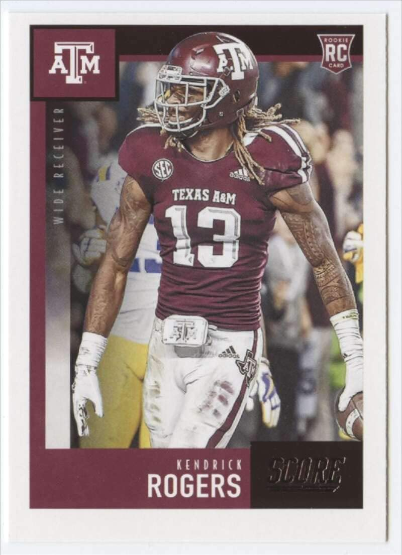 Amazon Com 2020 Score 384 Kendrick Rogers Texas A M Aggies Nfl Football Card Rc Rookie Card Nm Mt Collectibles Fine Art