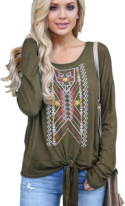 Dumai Camisa Blusa Estampada Otoño Algodón Manga Larga Camisa de Mujer Moda O-Cuello Pajarita Blusa de Encaje Casual Loose Plus Size Ladies Top tee (Color : Army Green, Size : XL): Amazon.es: