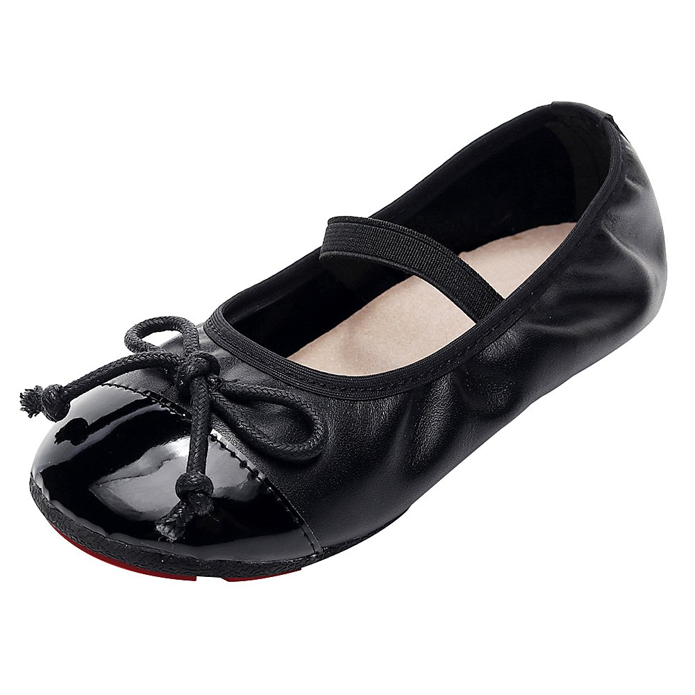 rismart Girl's Slip on Foldable Loafers with Bowknot and Elastic Straps Leather Ballet Flats SN030613(Black,8.5 M US Toddler)