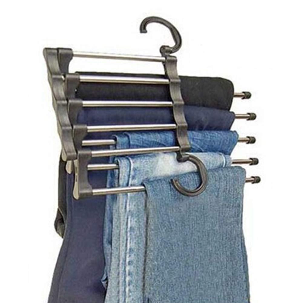 iuNWjvDU /Útil 5-en-1 Pantalones Ropa Percha Armario Rack Jeans retr/áctiles Diario Organizador almacenaje de la Ropa de contenedores para el hogar