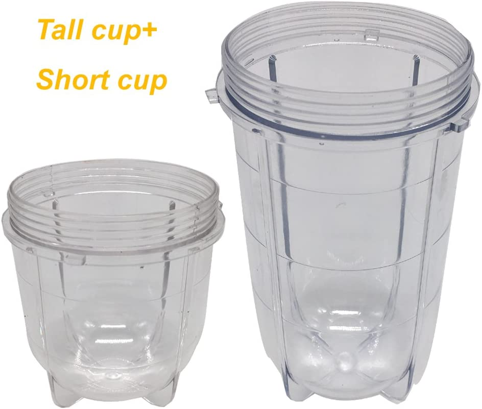 replacement cups for magic bullet,1pcs Tall Jar Cups and 1pcs short bullet Cup Fits Original Magic Bullet Blender Juicer,extra cups for magic bullet(1tall cup+1 short cup)