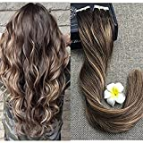 hair extention package - Full Shine 24 inch Dark Roots Color #2 Fading to #3 and #27 Tape in Remy Hair Extensions Brown to Honey Blonde Balayage Tape on Real Hair 20Pcs 50 Gram Per Package