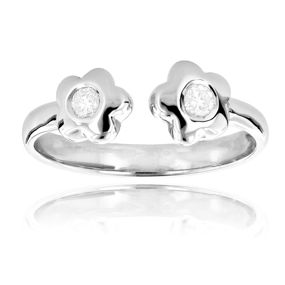 Luxurman Unique Adjustable 14K Natural 0.1 Ctw Diamond Toe Ring Flower For Her (White Gold)