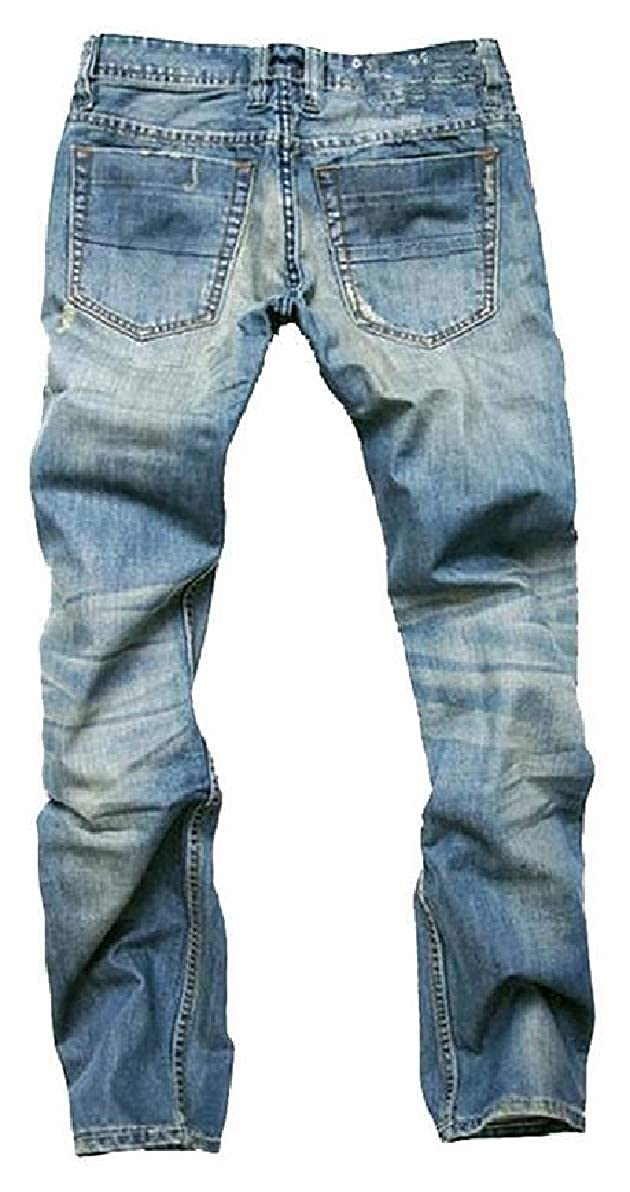 FLCH+YIGE Men Button Down Jeans Mid Rise Straight-Legs Ripped Hole Washed Denim Pants
