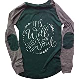EDC Womens Long Sleeve Tunic Tops It is Well with My Soul Letter Print Twist Knot Pullover Crewneck Blouse Shirts T Shirt