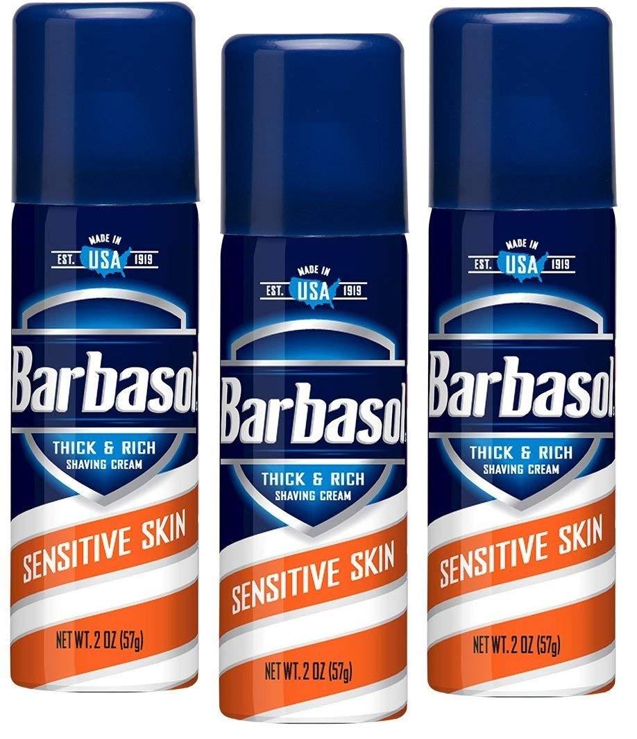 Barbasol Shave Cream Sensitive Skin Travel size 2 oz (Pack of 3)