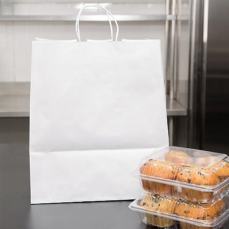 Duro Super Royal White Paper Shopping Bag With Handles 14u0026quot; X 10u0026quot;  X 15