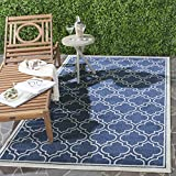 outdoor indoor rug - Safavieh Amherst Collection AMT412P Navy and Ivory Indoor/Outdoor Area Rug (3' x 5')