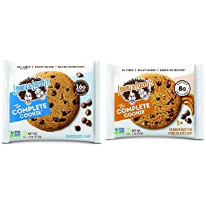 Lenny & Larry's The Complete Cookie, Chocolate Chip, Soft Baked, 16g Plant Protein, 4 Ounce Cookie (Pack of 12) & The Complete Cookie, Peanut Butter Chocolate Chip, 2 Ounce Cookies - 12 Count