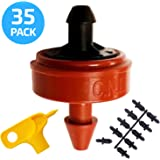 0.5 (1/2) GPH Netafim Woodpecker Jr Pressure Compensating Dripper Emitters, 35-Pack Plus Hole Punch Tool and Goof Plugs for Drip Irrigation Systems