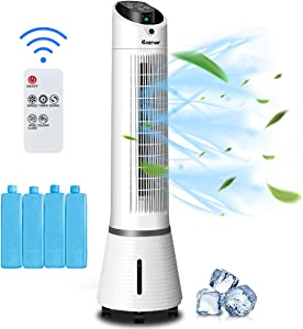 COSTWAY Evaporative Cooler, 3-in-1 Oscillating Tower Fan, Cooling and Humidifier with LED Display, 6L Water Tank, 8H Timer, 3 Speeds and 3 Modes, Portable Air Cooler with Remote for Home & Office