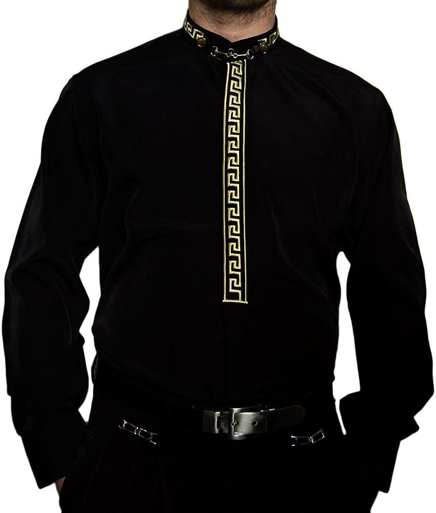 Camisa de hombre negro o blanco con oro Stick y cuello alto Camisa ...