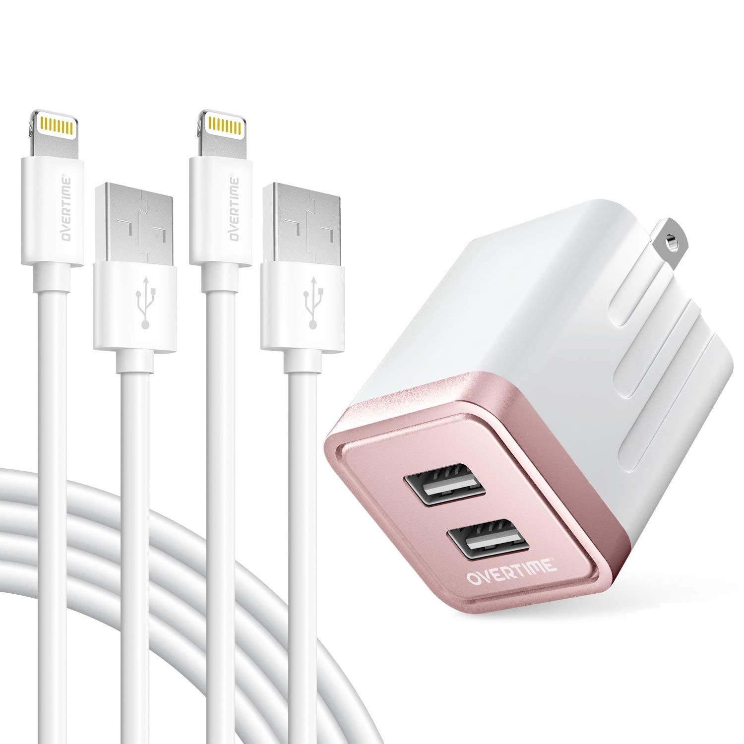 iPhone Charger Set, 2-Pack Overtime Apple MFi Certified Lightning Cables with 1 Dual USB Wall Adapter - 2.4 AMP Compatible w/iPhone 11 Pro Max XS XR X 8 7 6S 6 Plus SE iPad (Rose Gold/White, 6ft)