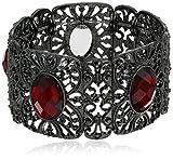 Best 1928 Jewelry Bracelets - 1928 Jewelry Black-Tone Red Wide Filigree Stretch Bracelet Review