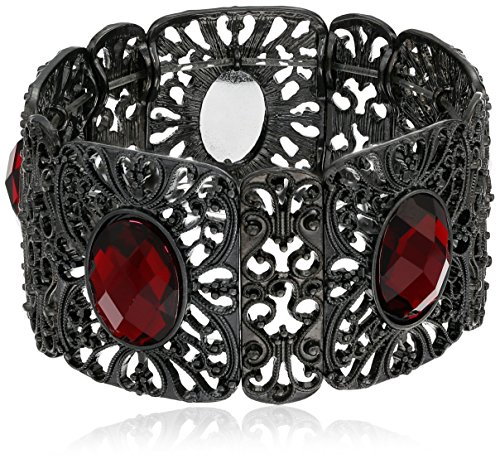 (1928 Jewelry Black-Tone Red Wide Filigree Stretch Bracelet)