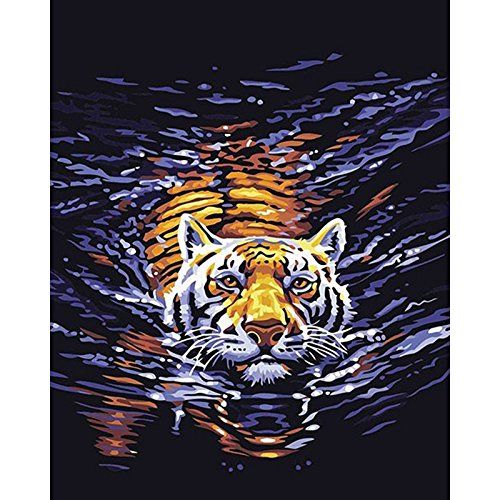 TOCARE DIY Diamond Painting by Number Kits for Adults Kids Full Drill Animals Paint with Diamond Cross Stitch Kits, Tiger 12x16inches