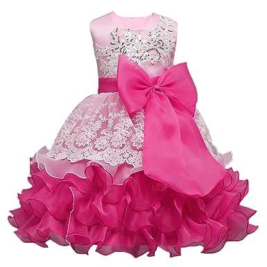 3172487bf9655e Mädchen Kinder Kleider Mit Bowknot Blumenmädchenkleider Hochzeitskleid  Festlich Brautjungfern Kleid Prinzessin Hochzeit Abendkleid Party Kurzes ...
