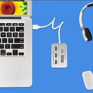 USB3.0 Card Reader and 3 Ports Usb Hub High Speed External Memory Card Reader